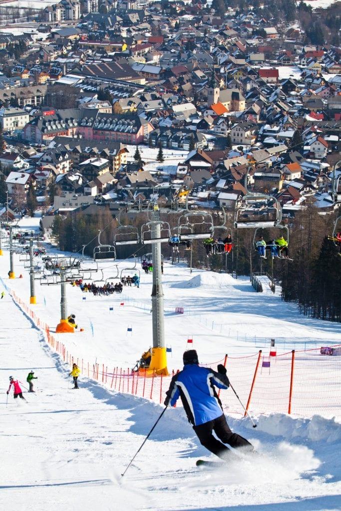 The ski slopes in Kranjska Gora