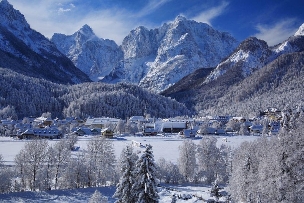 Kranjska Gora, Slovenian Alps, in winter.