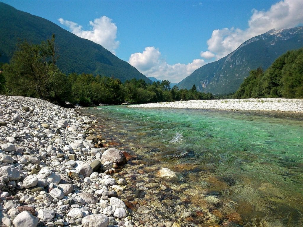 The insanely blue waters of the Soča valley