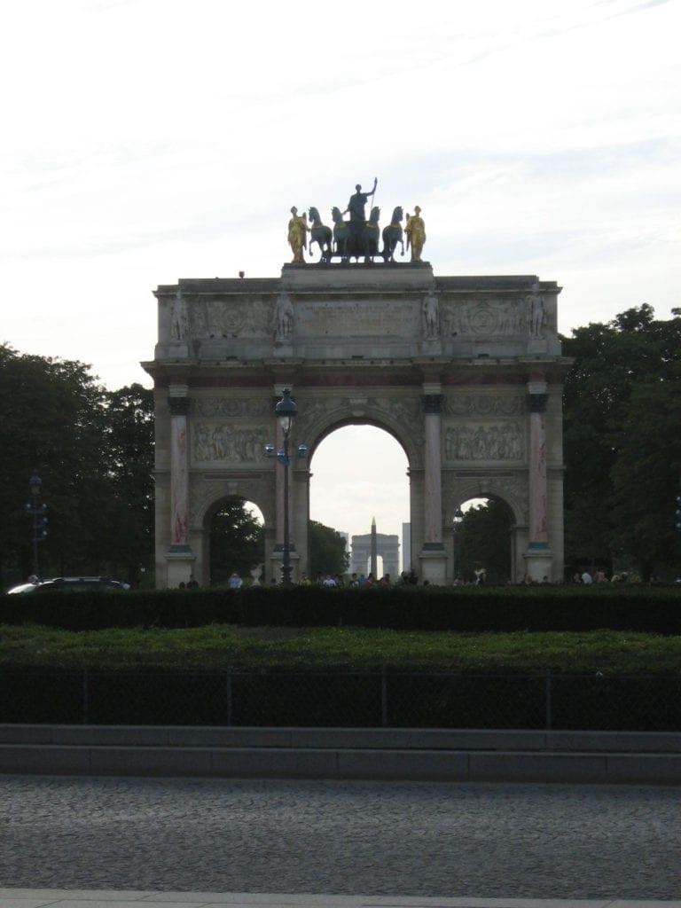 Paris, France -  historical axis which has these four monuments perfectly aligned - La Grande Arche de la Défense - Arc de Triomphe - Obélisque de Louxor sur La Place de la Concorde -Arc de Triomphe du Carrousel