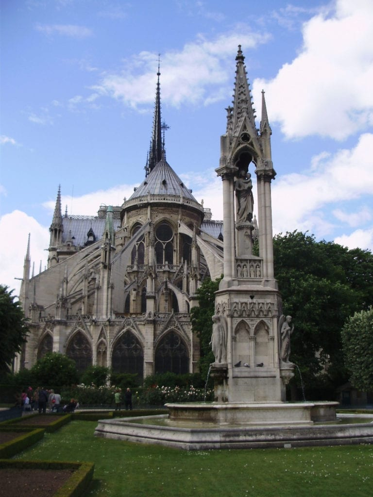 La Fontaine de la Vierge in a beautiful, quiet park behind Notre Dame Cathedral - three days in Paris itinerary