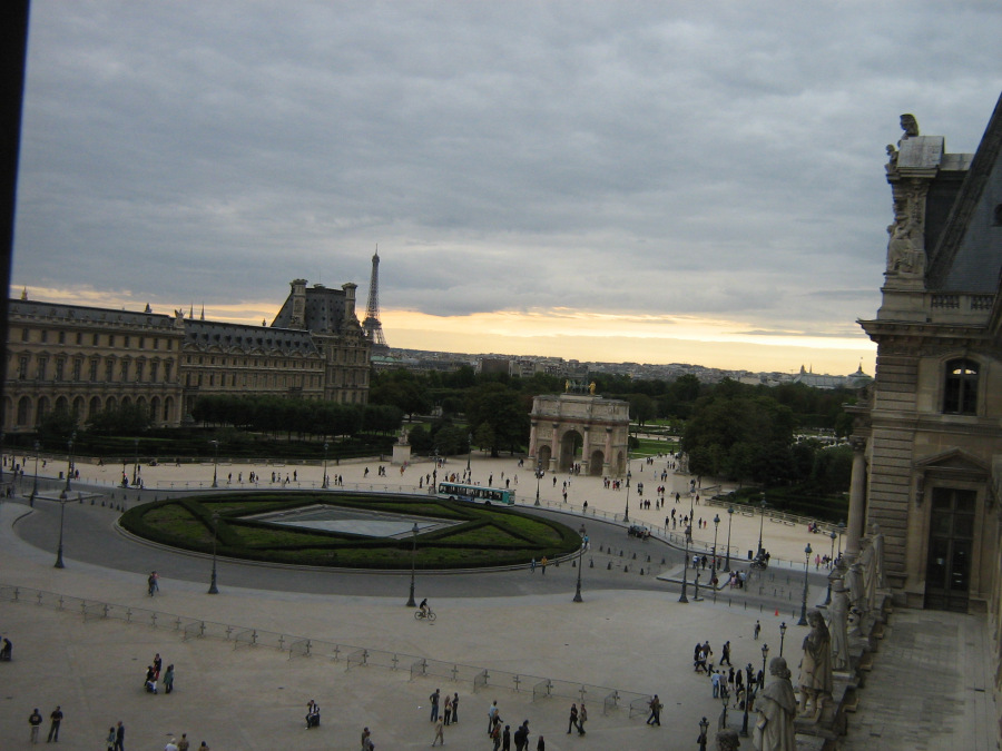 Sunset in Paris, viewed from inside the Louvre