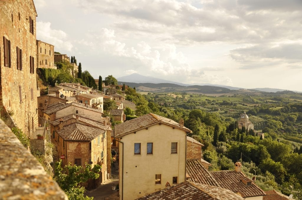 Panoramic view from a hilltop Tuscan town