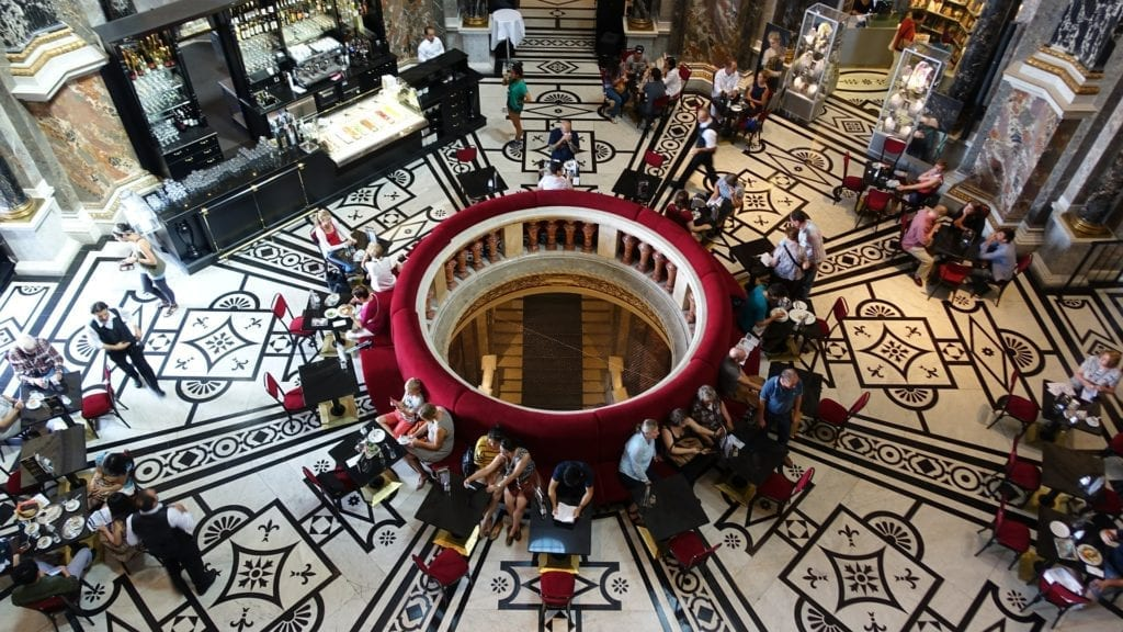 The coffee house inside the Art History Museum in Vienna, Austria