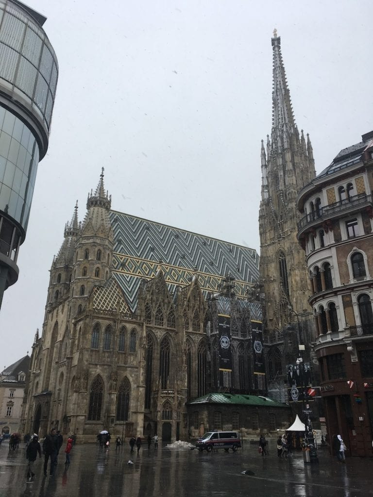 Vienna's iconic Stephansdome (St Stephen Cathedral) against a January sky