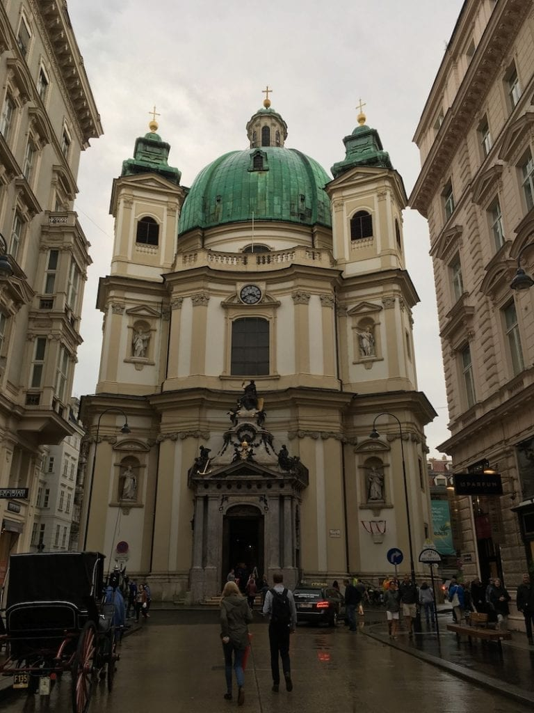 The St Peter's church in Vienna, Austria in January