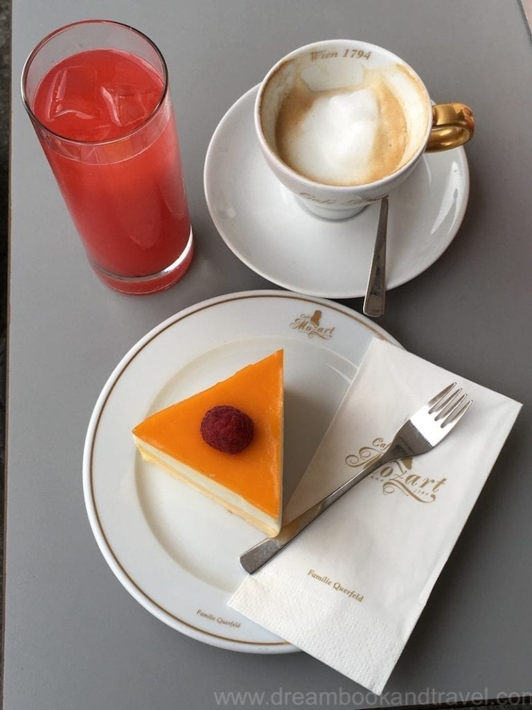 coffee and cake at Cafe Mozart in Vienna