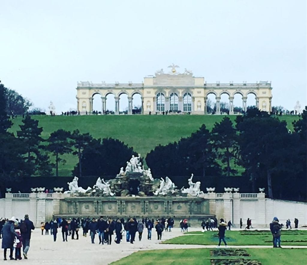 The famous Gloriette in the garden of the Schonbrunn Palace, Vienna, Austria, in January