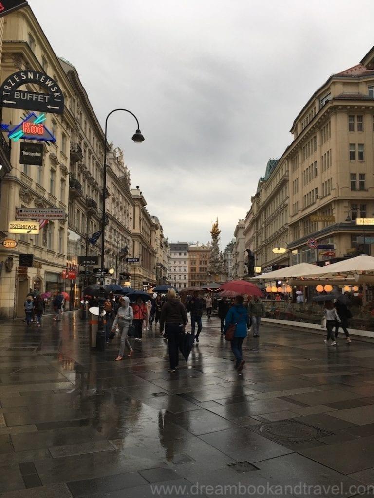 A beautiful rainy autumn day in Vienna - pedestrian area