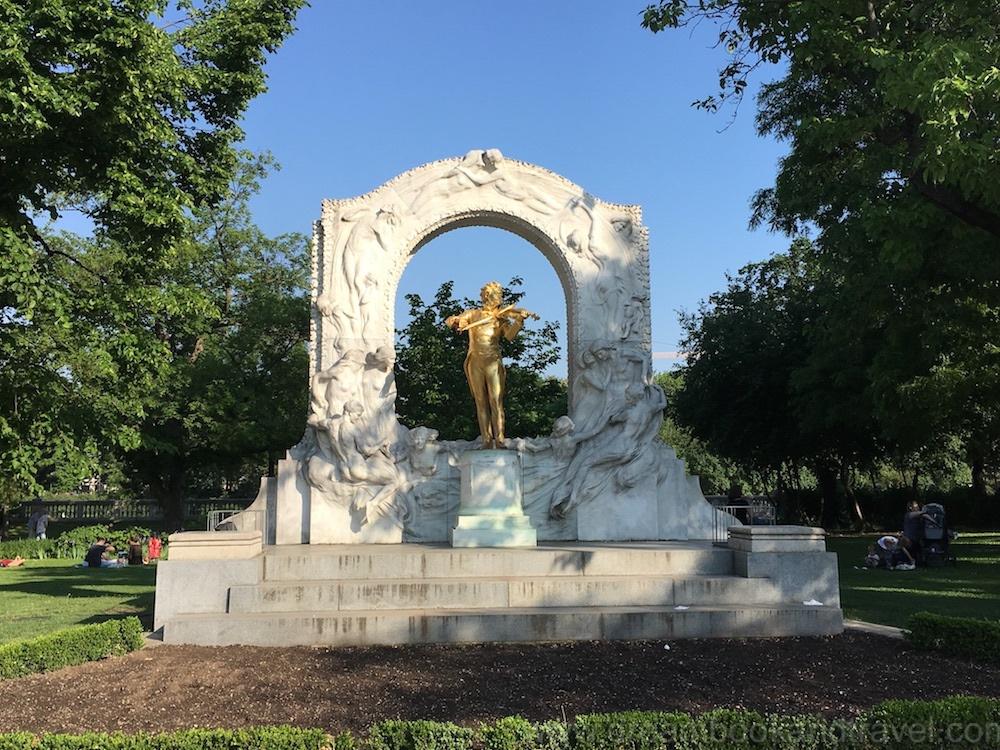 Gilded monument to Johann Strauss in Vienna's Stadtpark