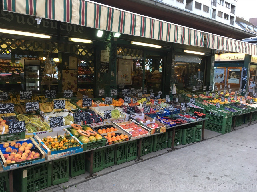 Fresh produce display at the Naschmarkt, Vienna, Austria