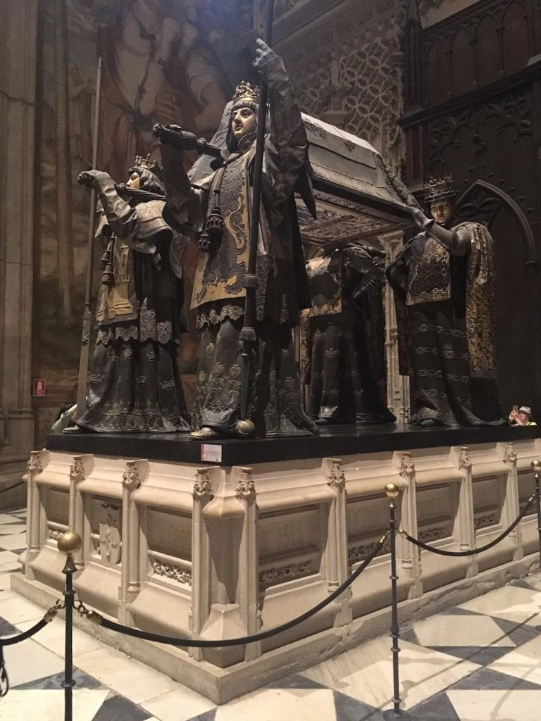 Tomb of Christopher Columbus, another famous resident of Seville's Cathedral - a landmark for everybody going on a holiday in Andalusia