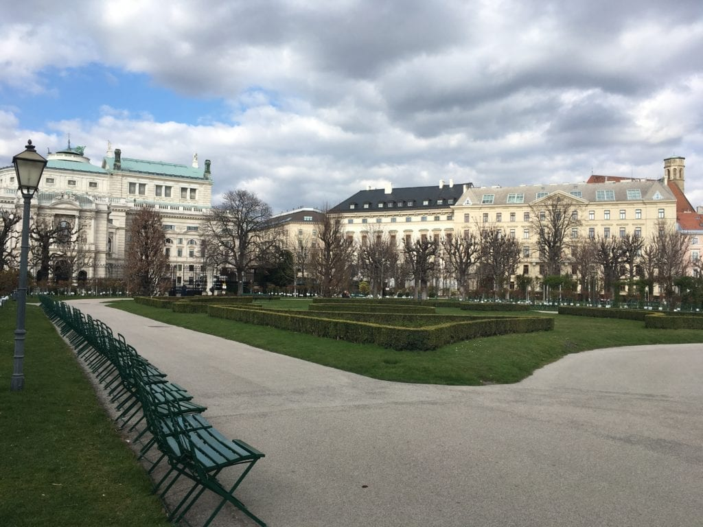 Burggarten, Vienna, Austria, green chairs, landmarks