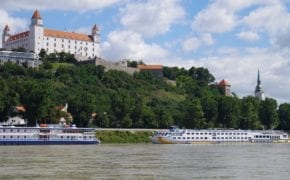 Bratislava castle overlooking the Danube.