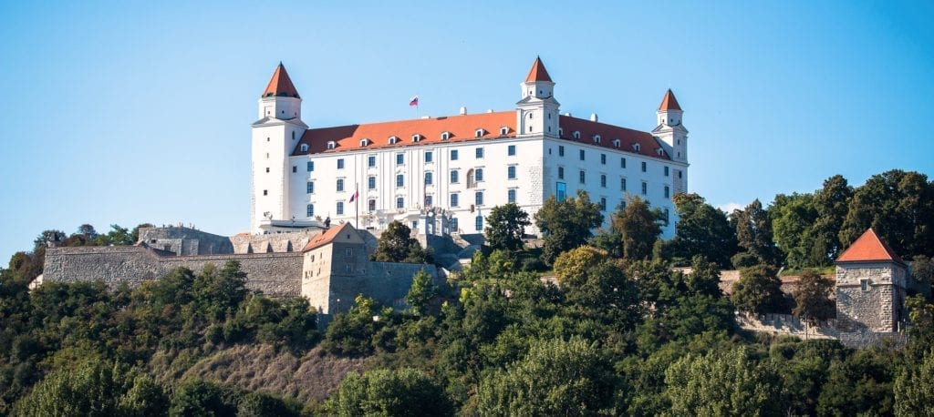 Bratislava castle overlooks the old town and the Danube bank.