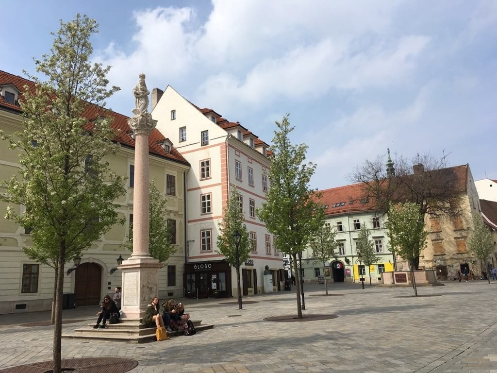 During the weekend, this square in the heart of Bratislava's Old Town is very peaceful