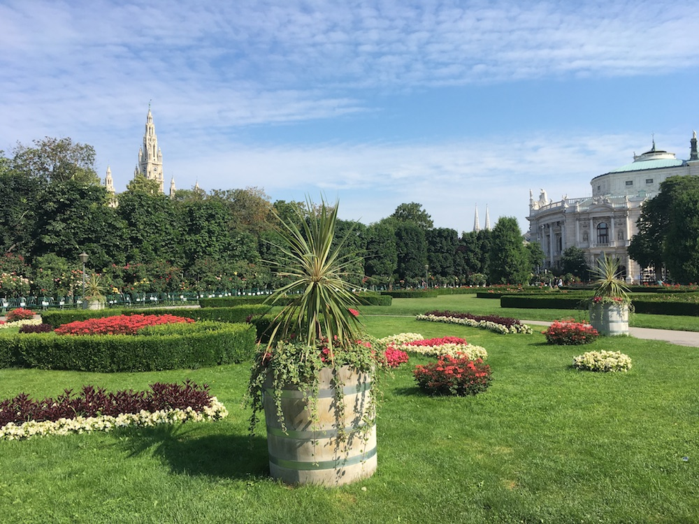Best time to visit Vienna - springtime in the Volksgarten with views over Burgtheater and Rathaus, Austria