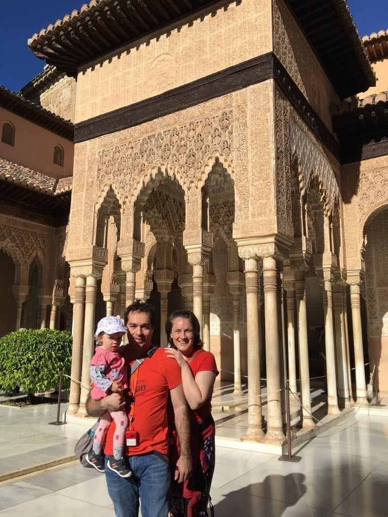 Our family photo in Alhambra's Nasrid Palaces, Granada