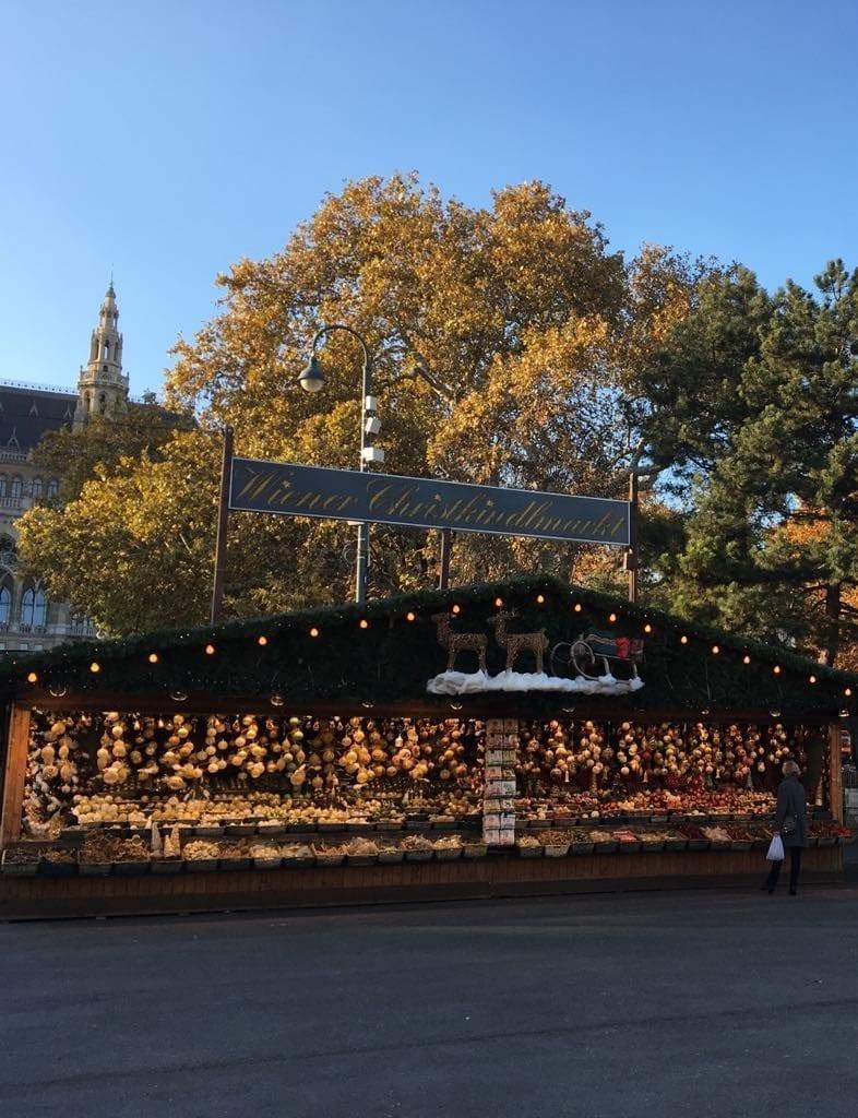 Piața de Crăciun în fața Rathaus din Viena în ziua deschiderii