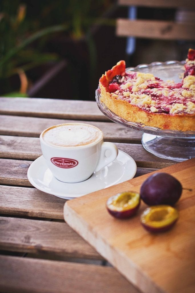 Autumn in Vienna - plum cake, plums, and coffee