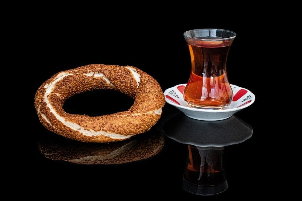 Simit and tea, to be enjoyed during winter in Istanbul