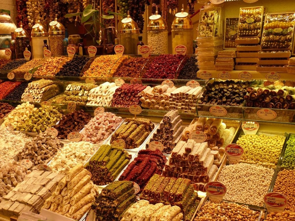 Produce display at the spice bazaar in Istanbul, Turkey