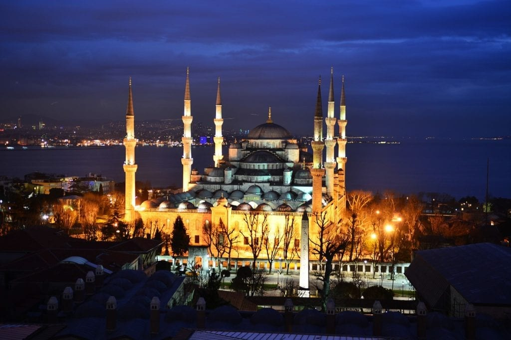 The elegant six minarets of the Blue Mosque overlooking the Bosphorus in Istanbul, Turkey