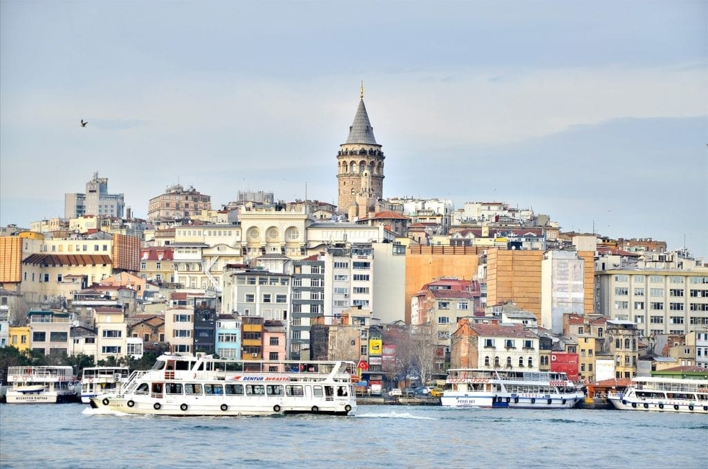 Galata Tower and neighborhood, on the other side of the Golden Horn, Istanbul, Turkey