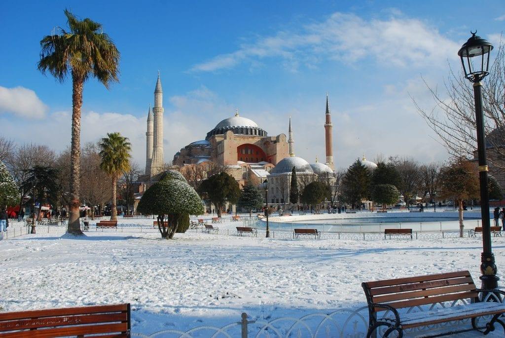 Hagia Sophia, Istanbul's landmark, in winter