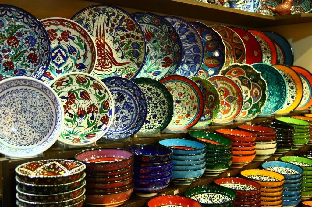 Array of hand-painted Turkish ceramics - a worthy souvenir to take back home as a memento of your winter in Istanbul.