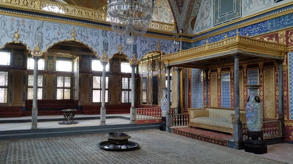 Interior of the Topkapi Palace, former residence of the Ottoman sultans, in Istanbul Turkey.