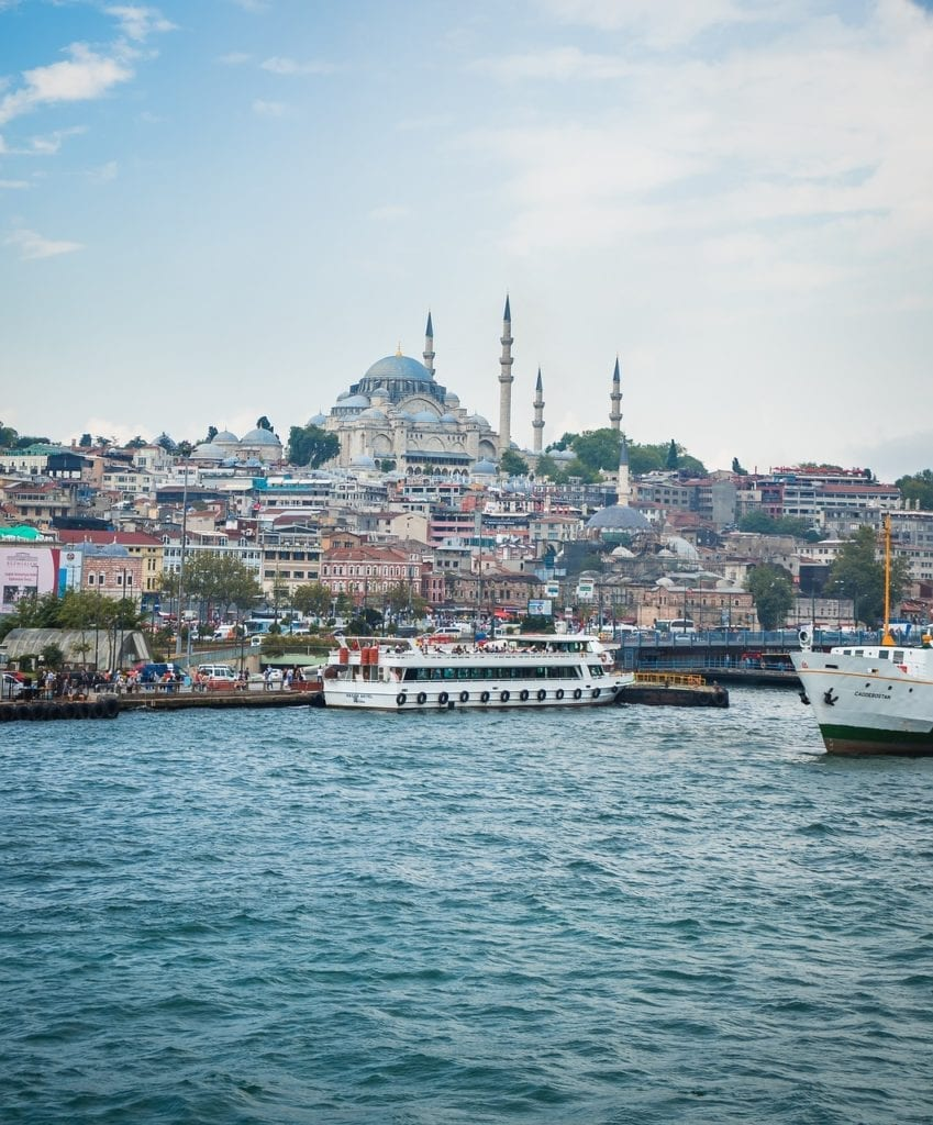 Suleymaniye mosque overlooking the ferry departure point at Eminönü, Istanbul, Turkey, in winter