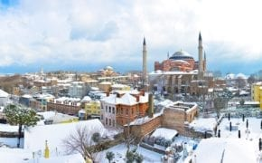 View of Hagia Sophia in winter in Istanbul, Turkey