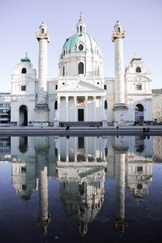 The Karlskirche in Vienna, Austria and reflexion