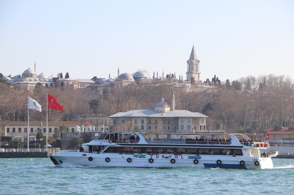 Topkapi Palace can easily seen from a Bosphorus cruise in winter in Istanbul, Turkey