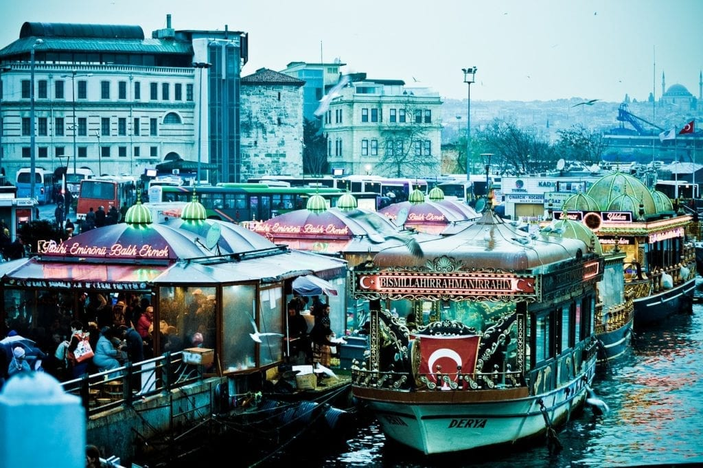 Galata bridge in Istanbul, Turkey