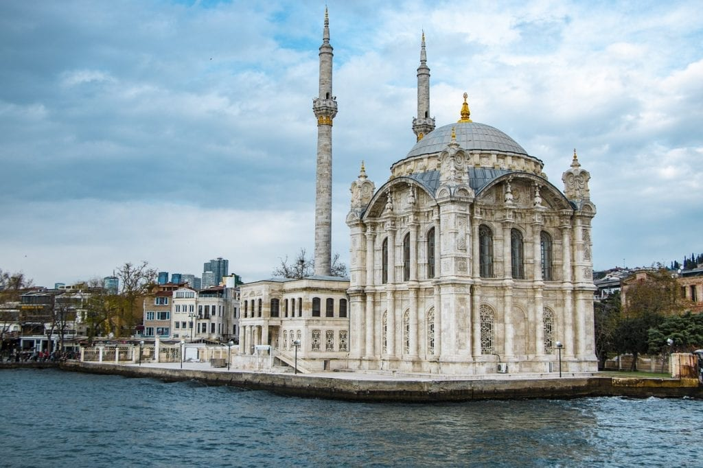 The exquisite Baroque Ortaköy Mosque located on the Bosphorus waterfront, Istanbul, Turkey