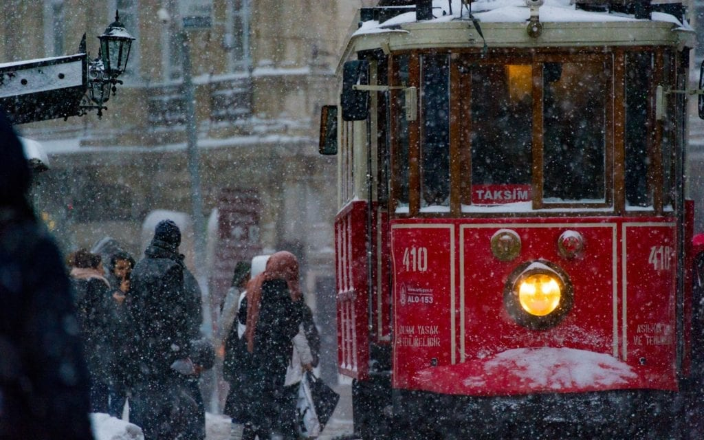 Traditional tram on Istiklal Street in Istanbul in winter