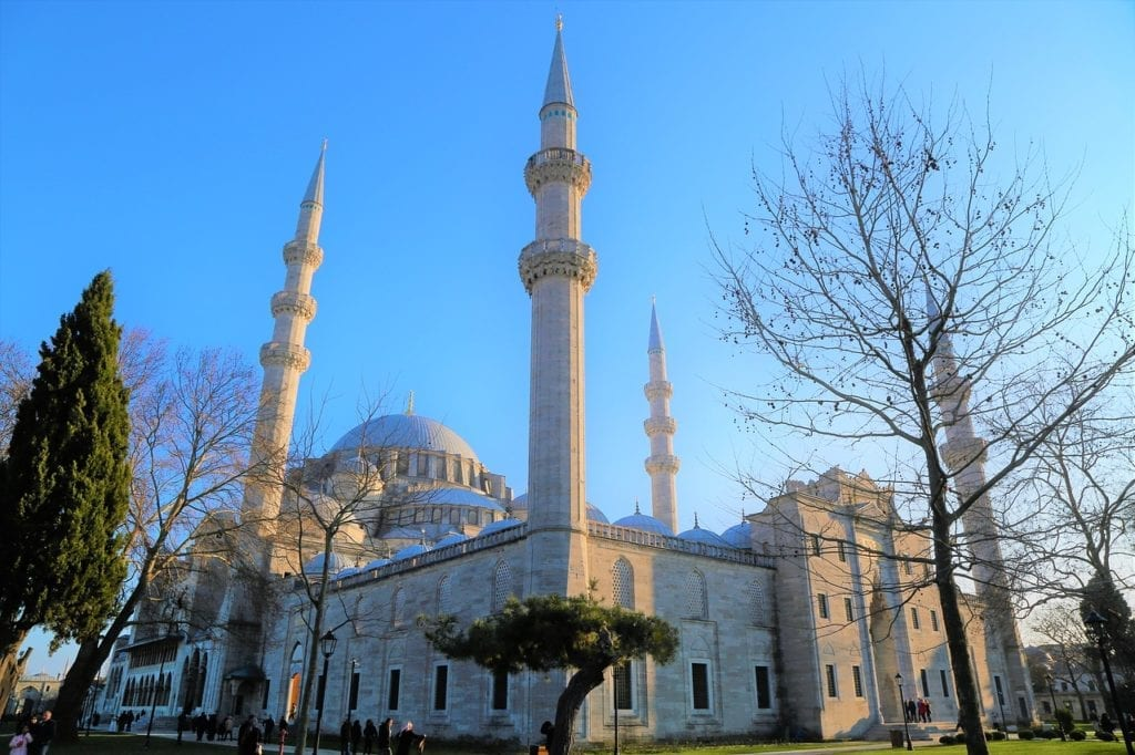 The beautiful Suleymaniye mosque in Istanbul, Turkey in winter
