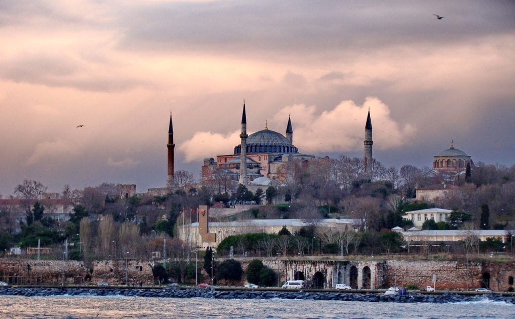 View of Hagia Sophia from the Bosphorus, winter in Istanbul, Turkey