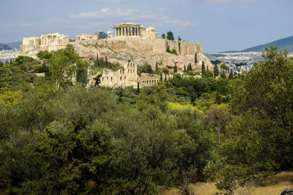 The Acropolis hill viewed from Pnyx, Athens, Greece