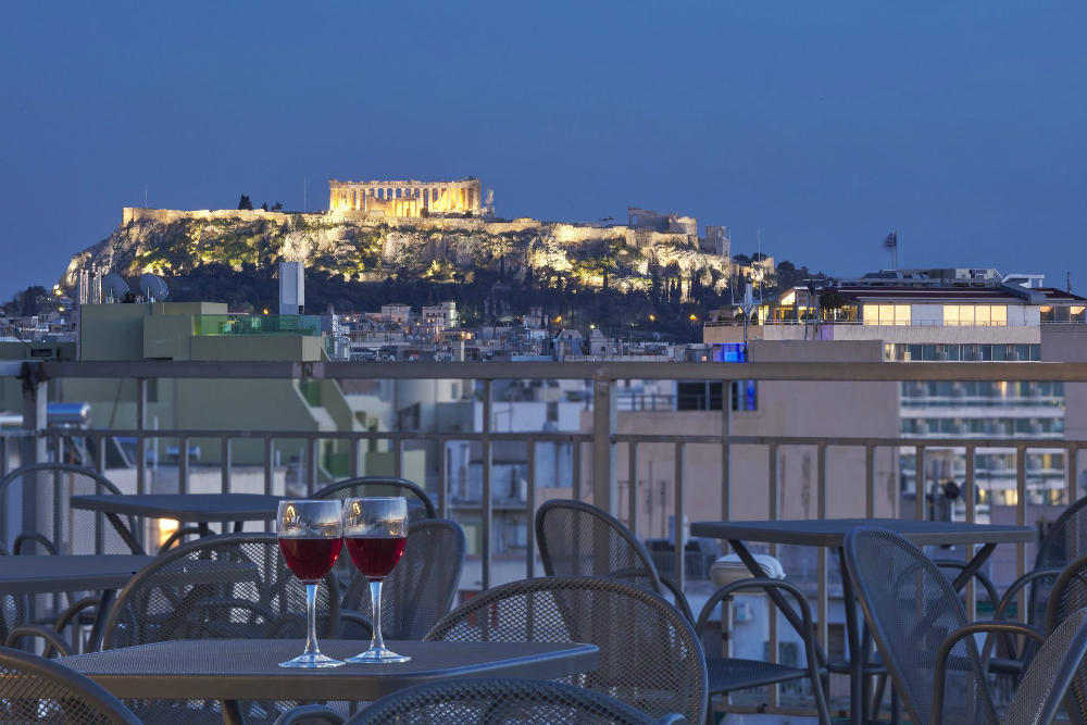 View of the Acropolis in Athens, Greece from the terrace of the Best Western Candia Hotel