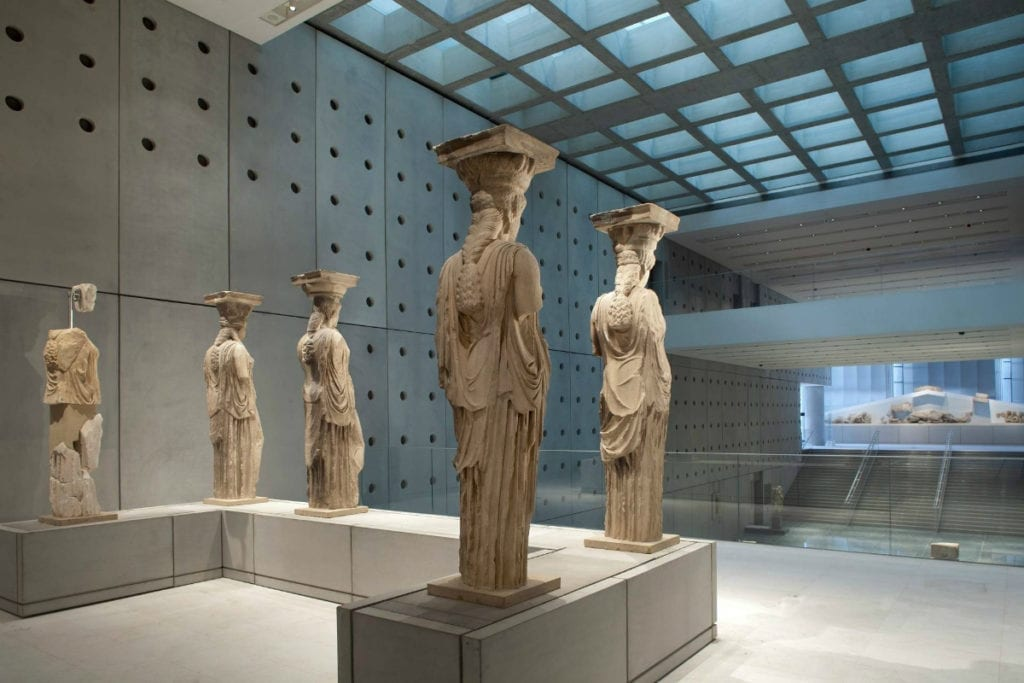 Caryatids on display at the Acropolis Museum in Athens, Greece