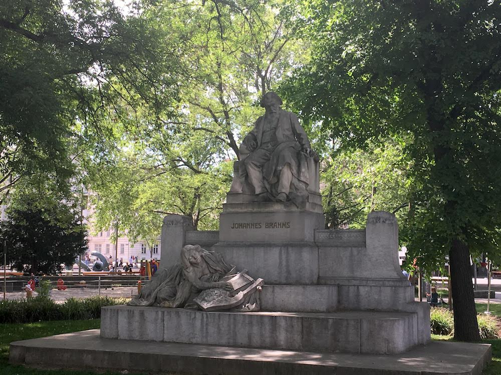 Where to stay in Vienna - Brahms' statue at Karlsplatz