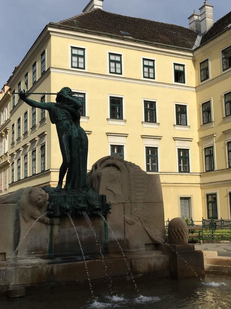The elegant Mozart Fountain in Vienna's 4th district, where to stay in Vienna