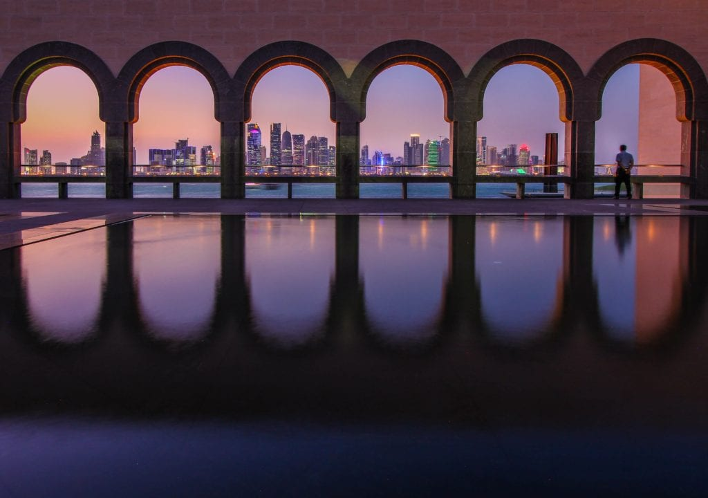 Qatar itinerary - night skyline