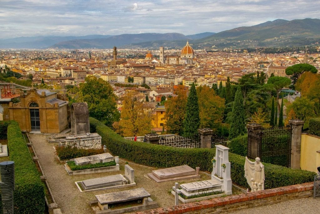 Where to eat in Florence - panoramic Florence skyline from Oltrarno